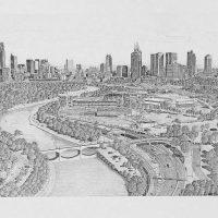 Peter Schinkel  - Pencil drawing of melbourne